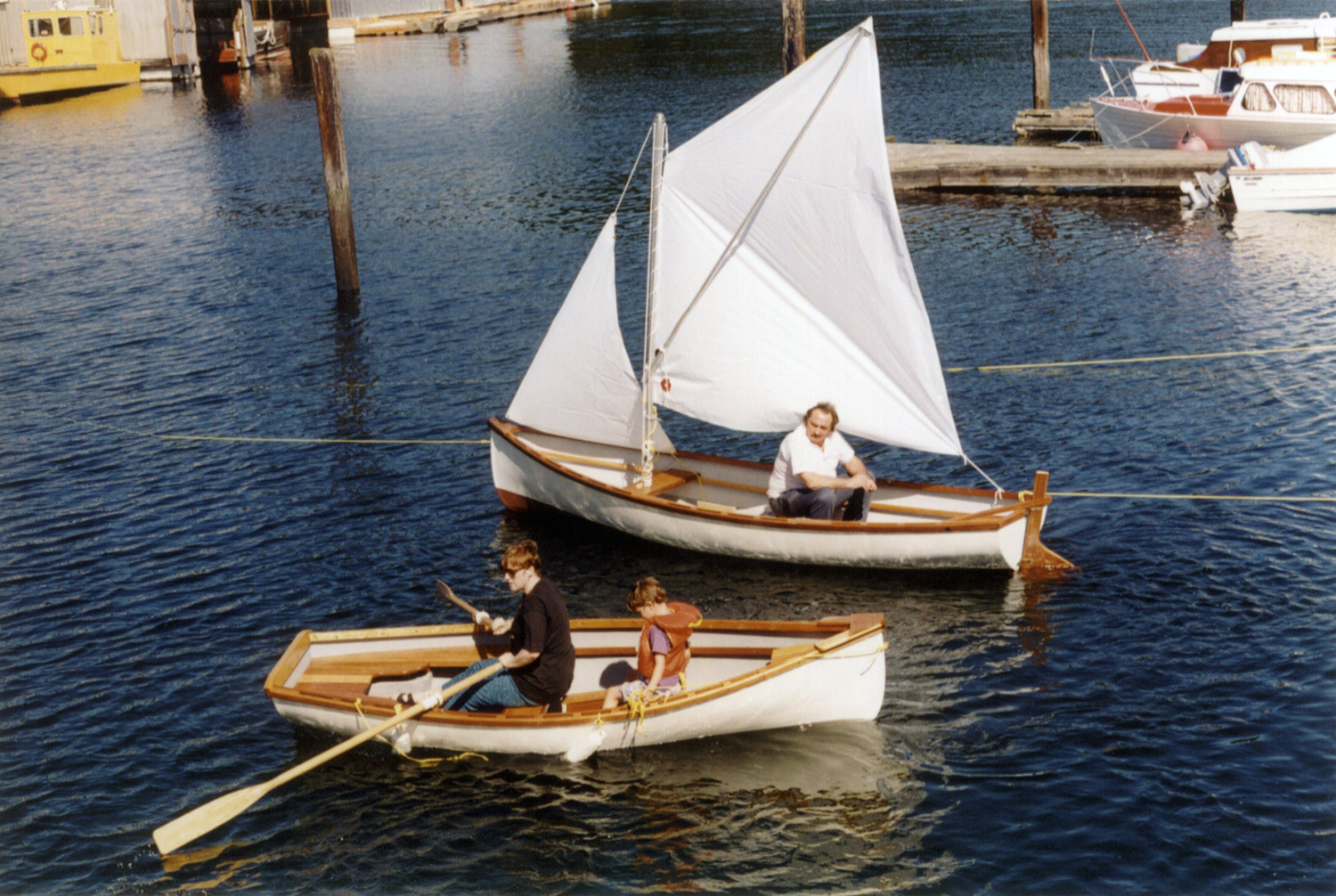 2 Whitehalls being used as rowboat and sailboat
